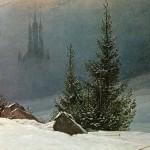 Paisaje de invierno con Iglesia, de Caspar David Friedrich
