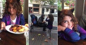 niña solidaria con un sin techo