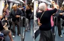 ancianos la lian bailando en el metro