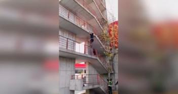 Bombero trepa 9 pisos en 30 segundos
