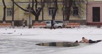 Salva a un perro del agujero de hielo