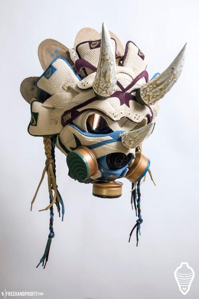 Este-artista-convierte-tus-zapatillas-viejas-en-alucinantes-máscaras-cuernos
