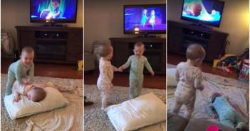 bebes imitan a frozen