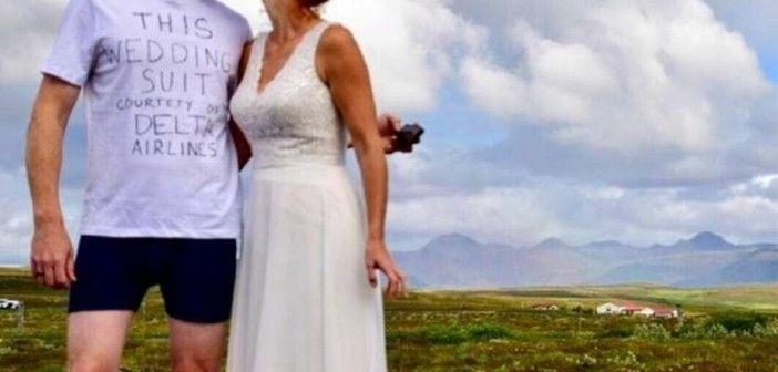 Le pierden su maleta y ¡se casa en camiseta!