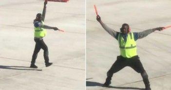 el-baile-viral-de-un-trabajador-un-avion