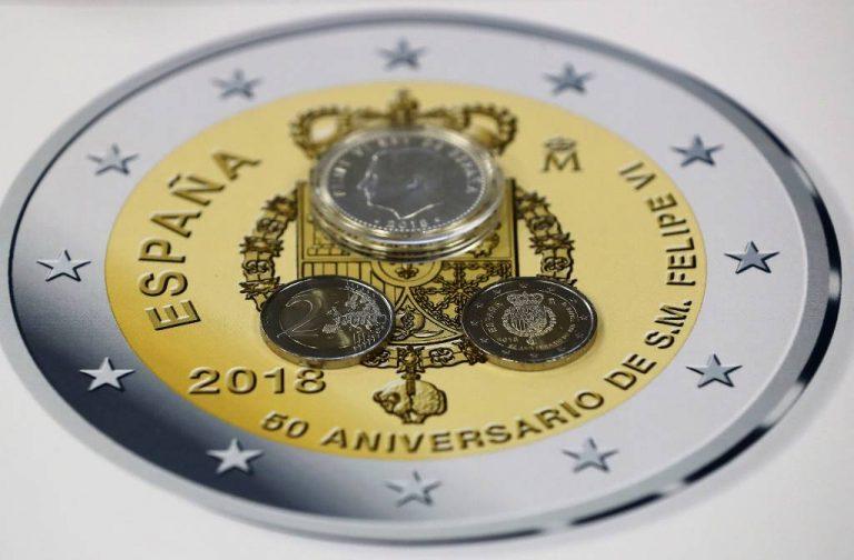 las-nuevas-monedas-por-los-50-anos-del-rey-de-espana-2-euros