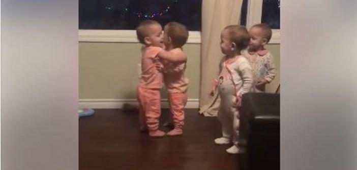¡Abrazos virales de las pequeñas cuatrillizas!
