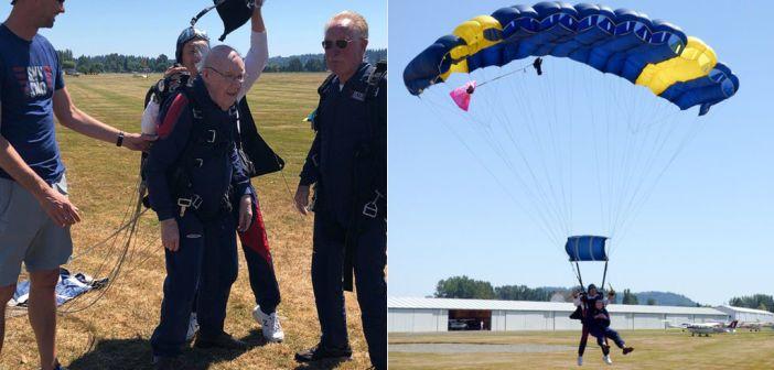 Celebra los 100 años tirándose en paracaídas